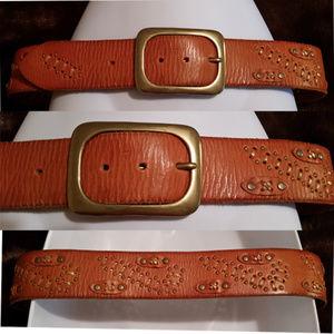 Linea Pelle Leather Embellished Brass Belt apx M/L